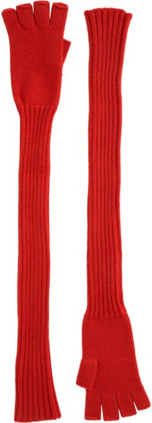 Barneys New York Extralong Fingerless Knit Gloves in Red (rosso) - Lyst