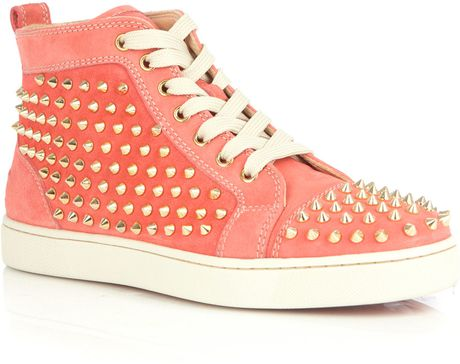 Christian Louboutin Classic Louis Spike Hightop Trainers in Pink - Lyst
