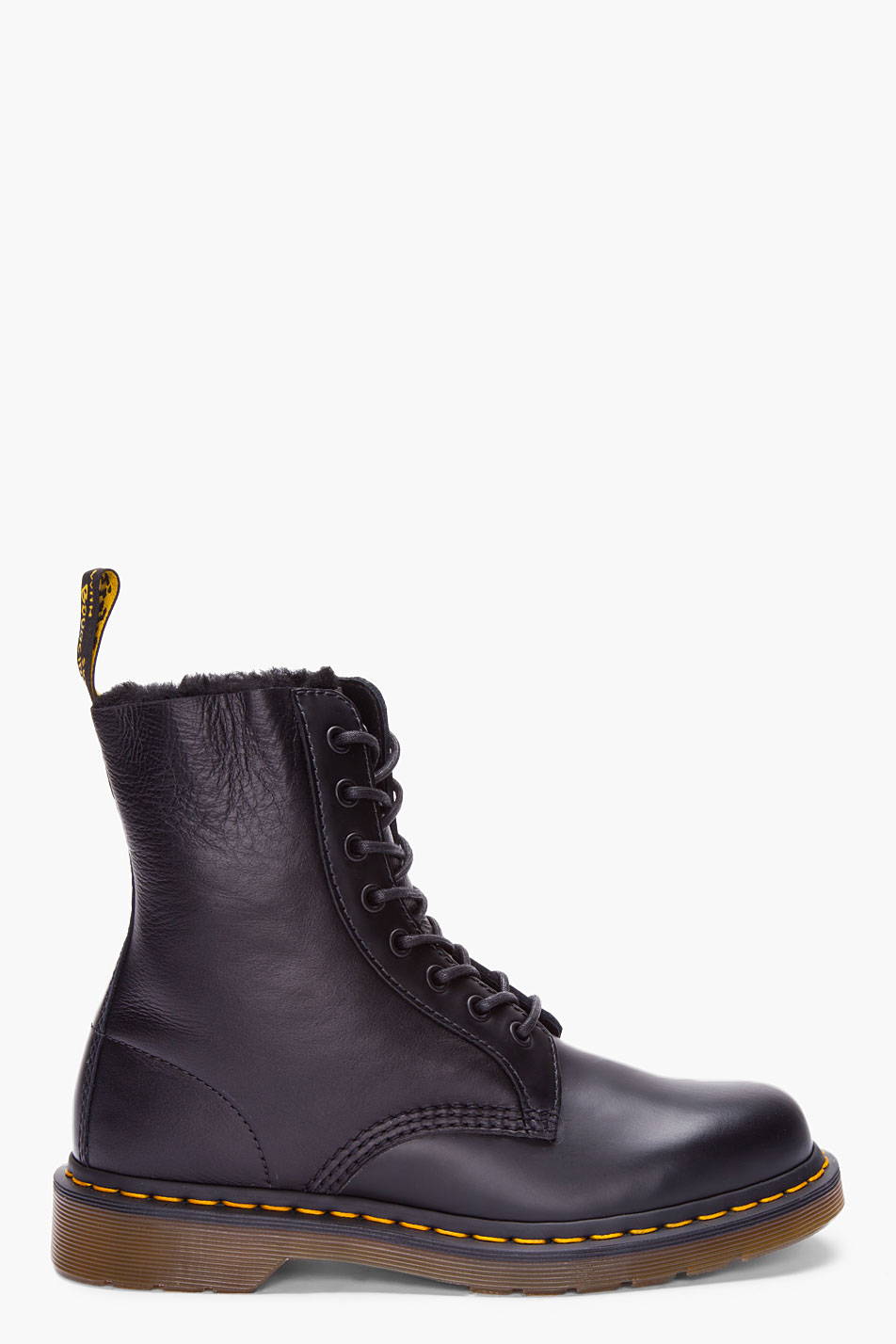 dr martens black leather brady winter boots in black for