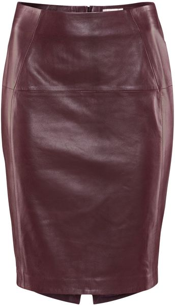 H&m Leather Skirt in Purple (burgundy) - Lyst