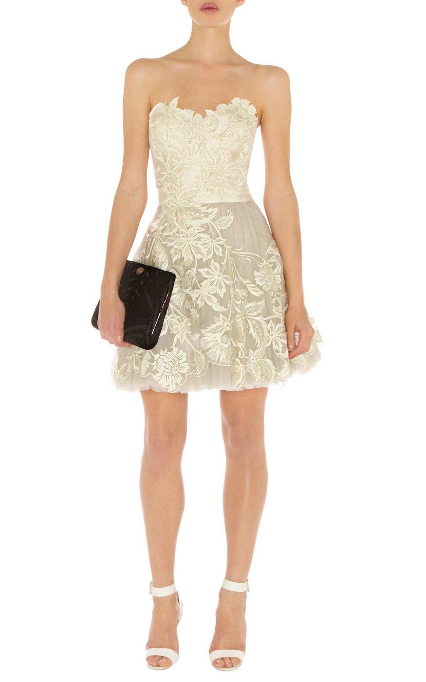 Karen Millen Romantic Embroidery Dress In Natural Lyst