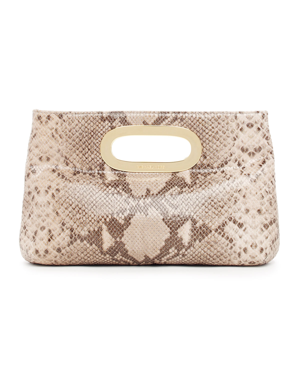 c69b4a1d9f16 Lyst - Michael Kors Berkley Clutch in Natural