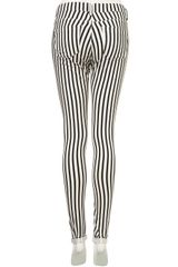 Moto Stripe Leigh Jeans in White (black/white) - Lyst
