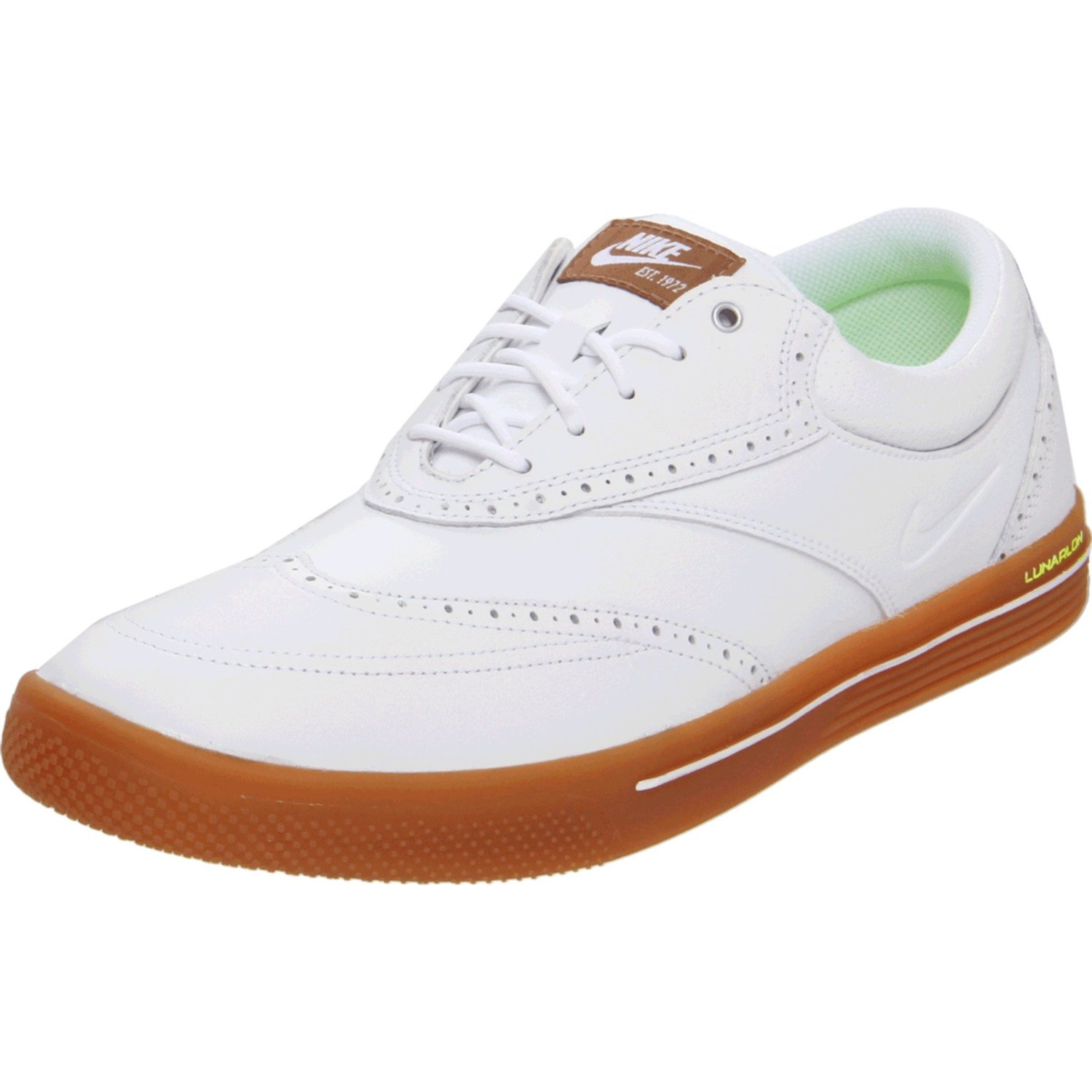 Brown And White Wingtip Golf Shoes