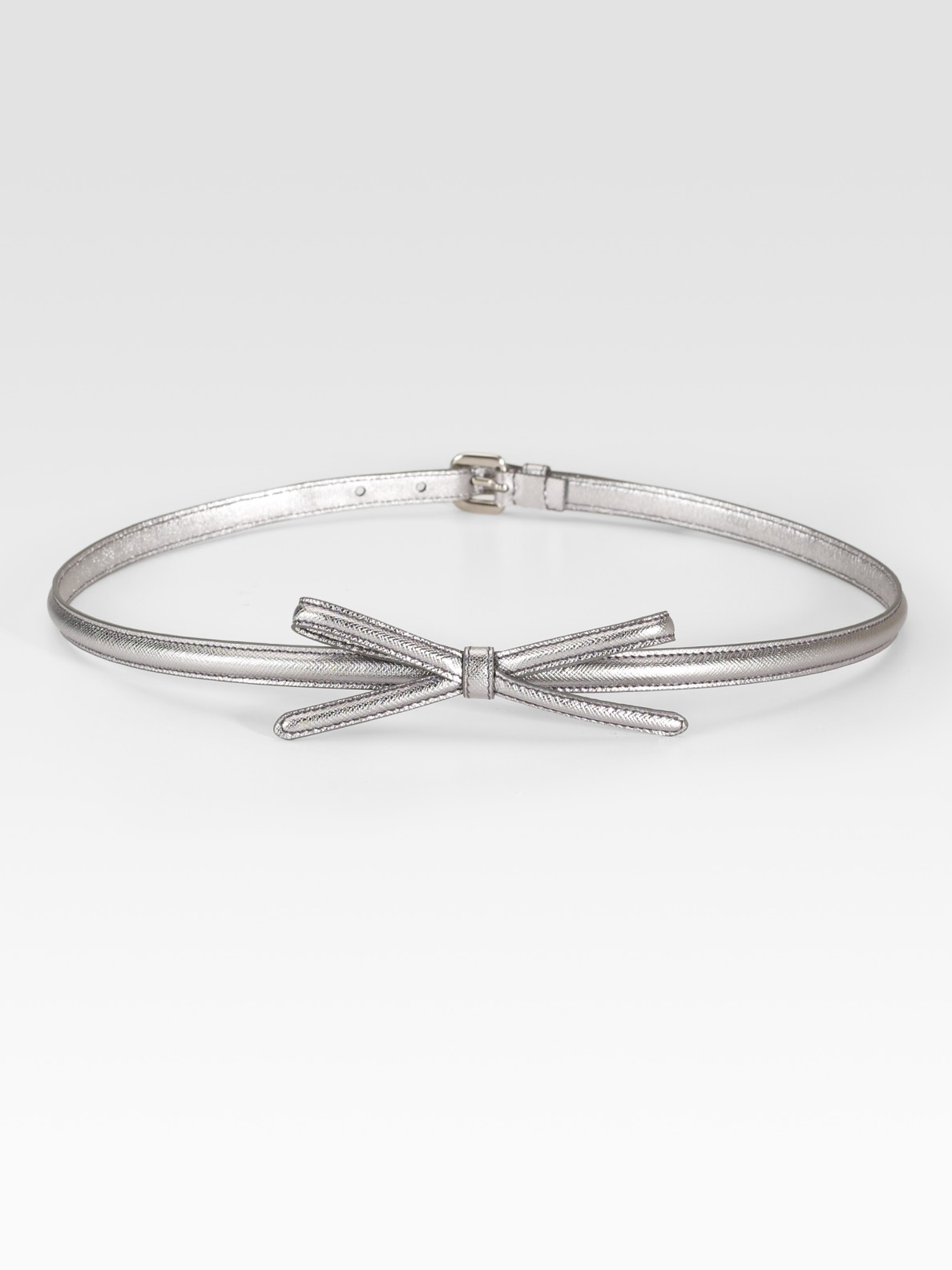 Prada Saffiano Leather Bow Belt in Silver | Lyst
