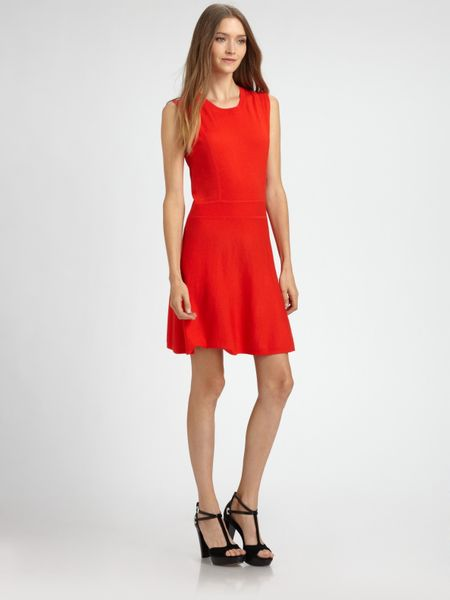Theory Taolina Wool Dress in Red (black) - Lyst