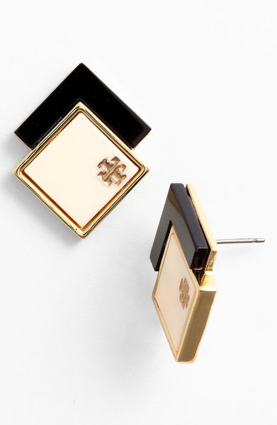 Tory Burch Tomi Stud Earrings in White (ivory/ black/ gold)