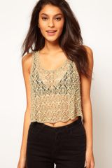 Asos Cropped Lace Vest with Pearl Embellishment - Lyst