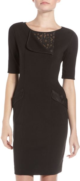 Bcbgmaxazria Hansel Lace Insert Dress in Black - Lyst
