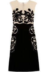 Bottega Veneta Velvet and Silk chiffon Appliquéd Dress - Lyst
