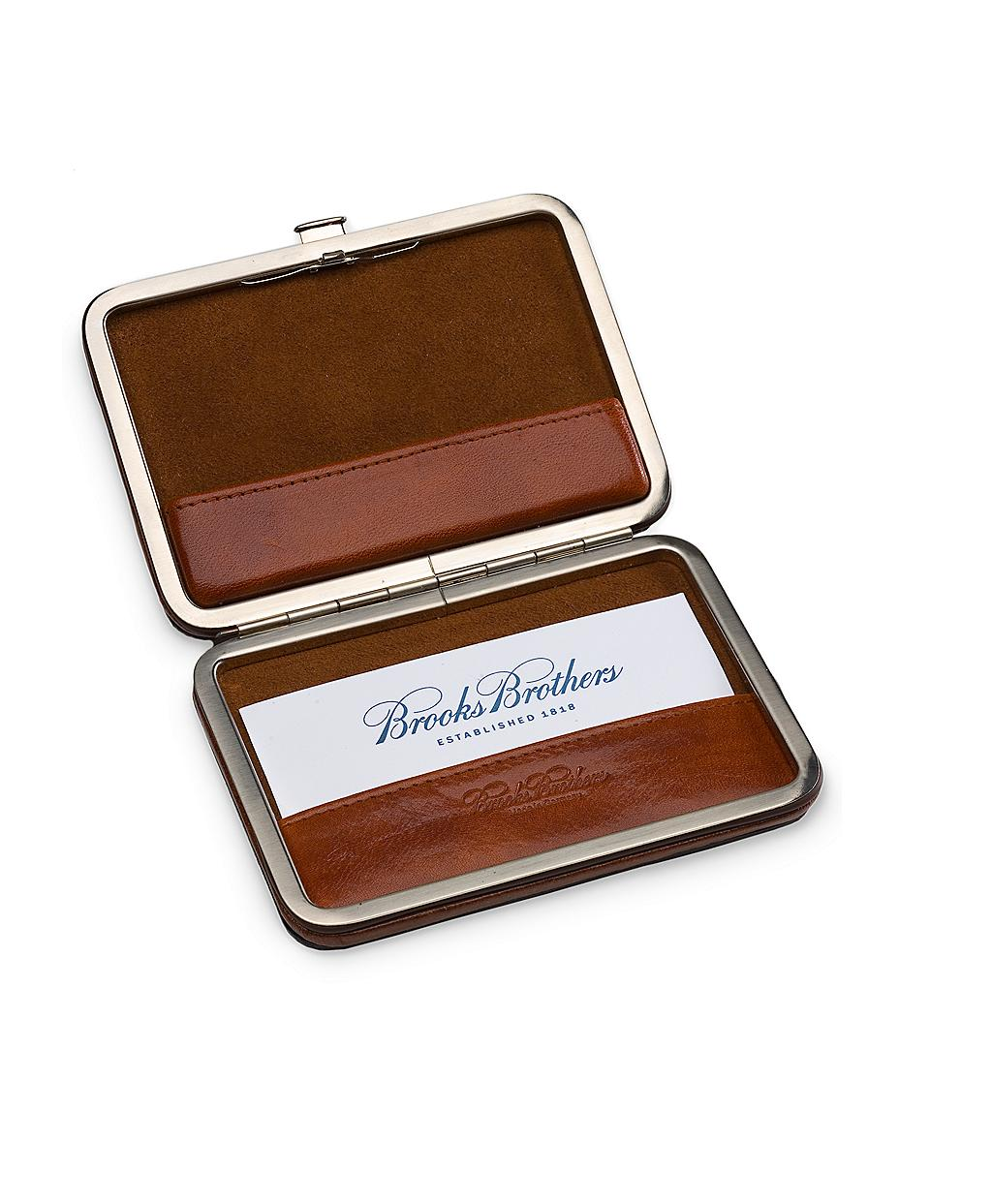 Lyst Brooks Brothers Leather Business Card Case In Brown For Men