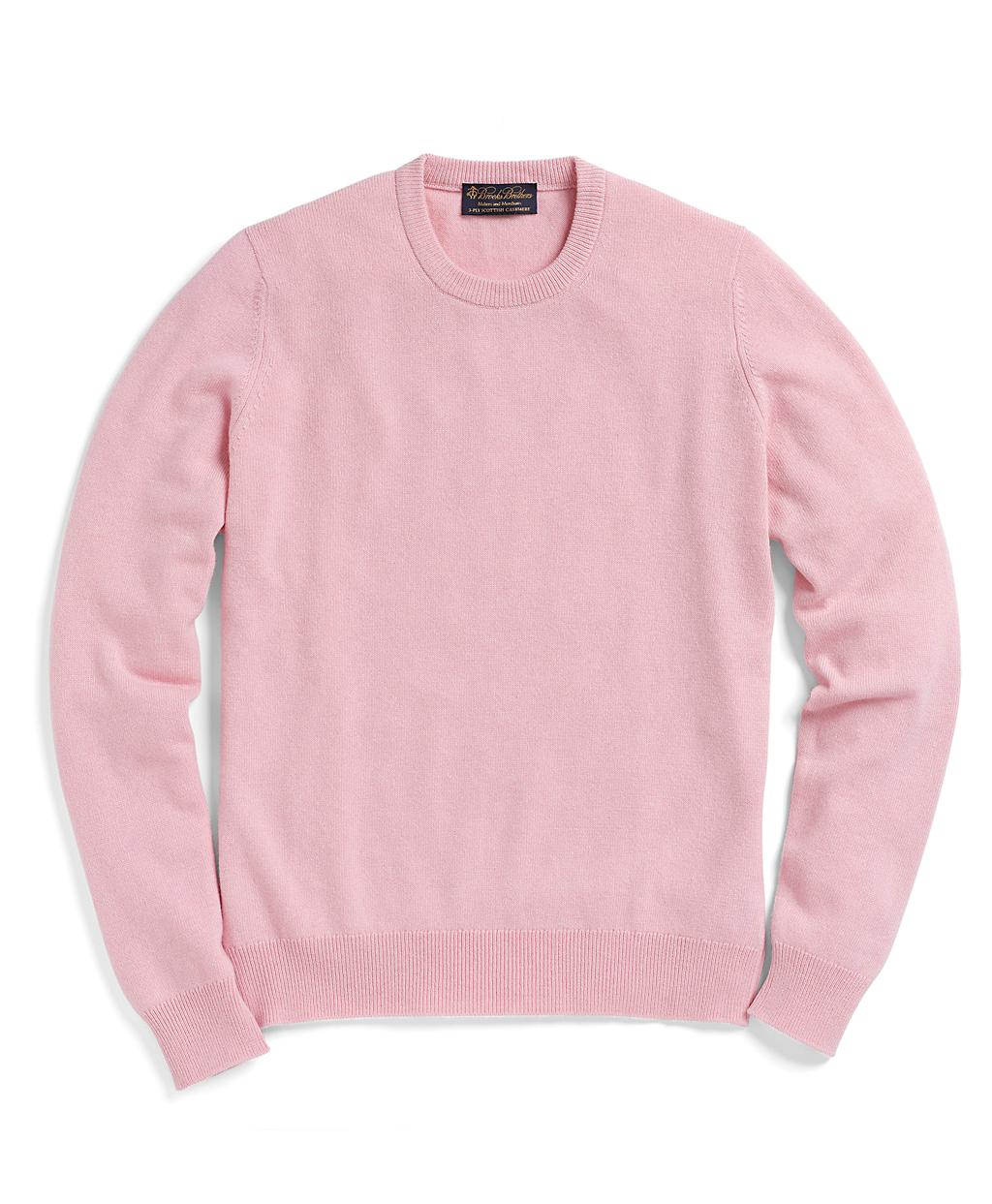 Brooks brothers Cashmere Crewneck Sweater in Pink for Men | Lyst