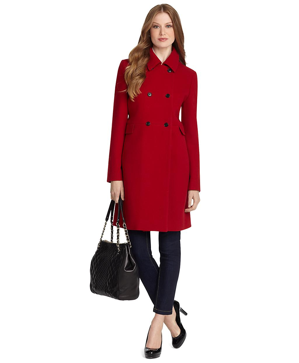 Brooks brothers Wool Pea Coat in Red   Lyst
