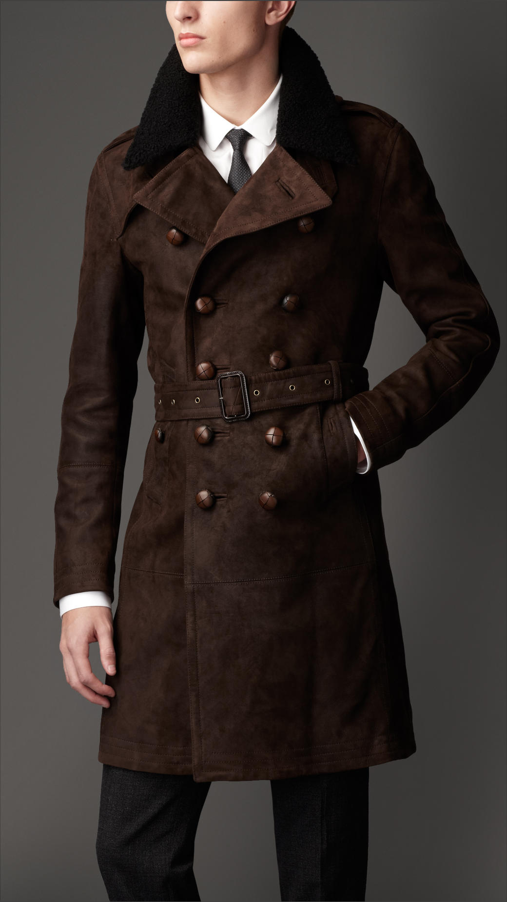 Burberry Mid-Length Shearling Collar Suede Trench Coat in Brown ...