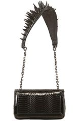 Christian Louboutin Artemis Spikes Watersnake Shoulder Bag - Lyst