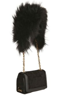 Christian Louboutin Artemis Suede Fox Fur Shoulder Bag - Lyst