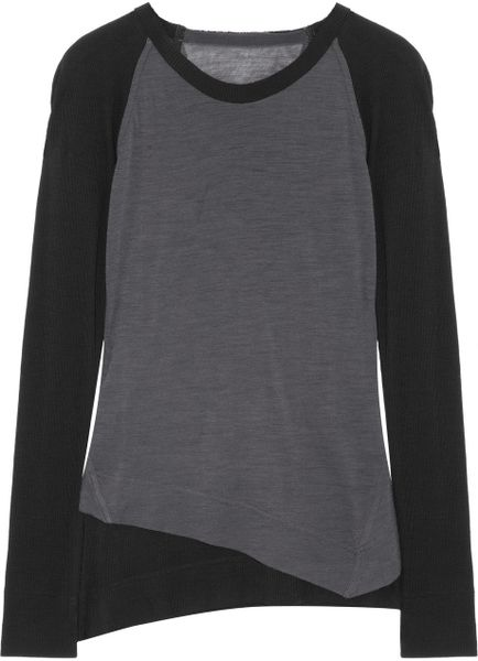 Donna Karan New York Woolblend Jersey Contrast Top in Gray (slate) - Lyst