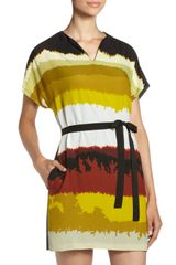 Donna Morgan Slitneck Belted Dress - Lyst