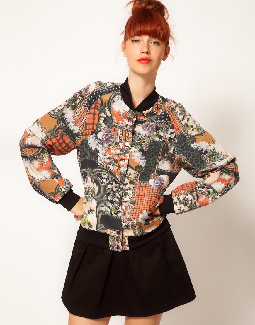 Emma cook Silk Bomber Jacket in Patchwork Print in Orange | Lyst