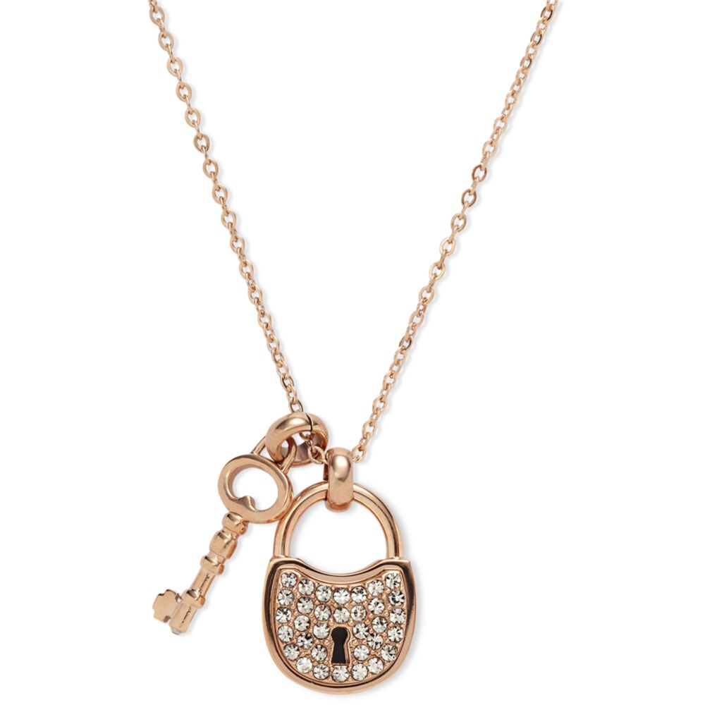 9a28960d9 Fossil Rose Gold Tone Pave Crystal Lock and Key Pendant Necklace in ...