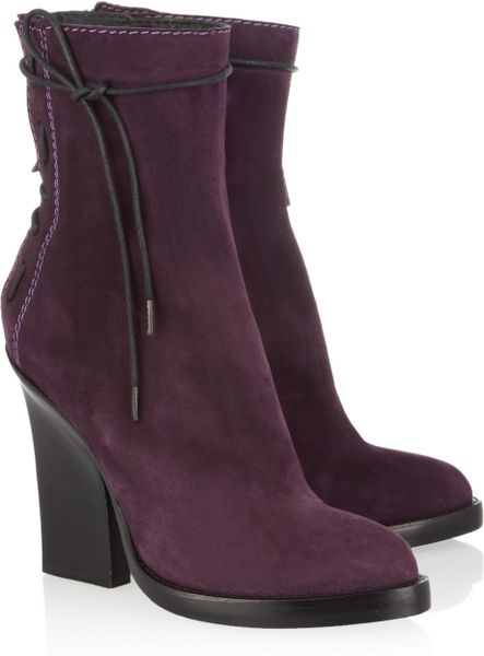Haider Ackermann Laceup Suede Ankle Boots in Purple (violet) - Lyst