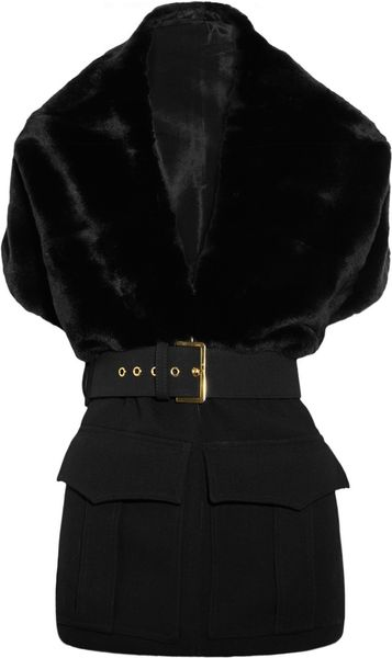 Marni Belted Rabbit and Wool Stole in Black - Lyst