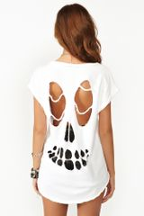 Nasty Gal Slashed Skull Tee in White - Lyst