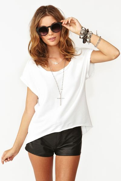 Nasty Gal Slashed Skull Tee in White