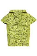 Topshop Lime Lace Peplum Pencil Skirt - Lyst