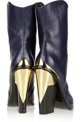 Versace Metal Trimmed Leather Mid Calf Boots in Blue (navy) - Lyst