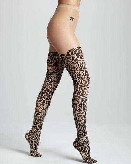 Купить WOLFORD ANNE Lace-up Tights Pantyhose in Sahara Sz:Small S Ret:$160