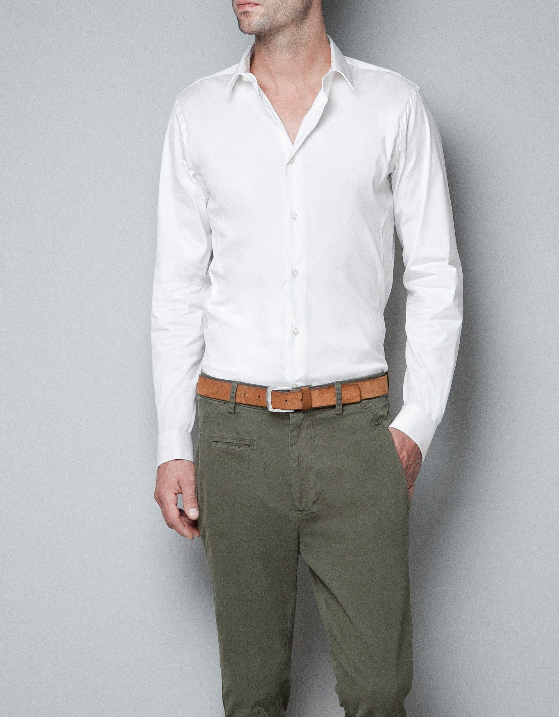 Zara shirt with cufflinks in white for men lyst for Mens white cufflink shirts