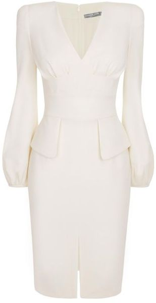 Alexander McQueen  Bell Sleeve Wool Crepe Pencil Dress - Lyst