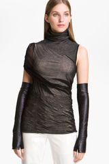 Alexander Wang Long Fingerless Leather Gloves - Lyst
