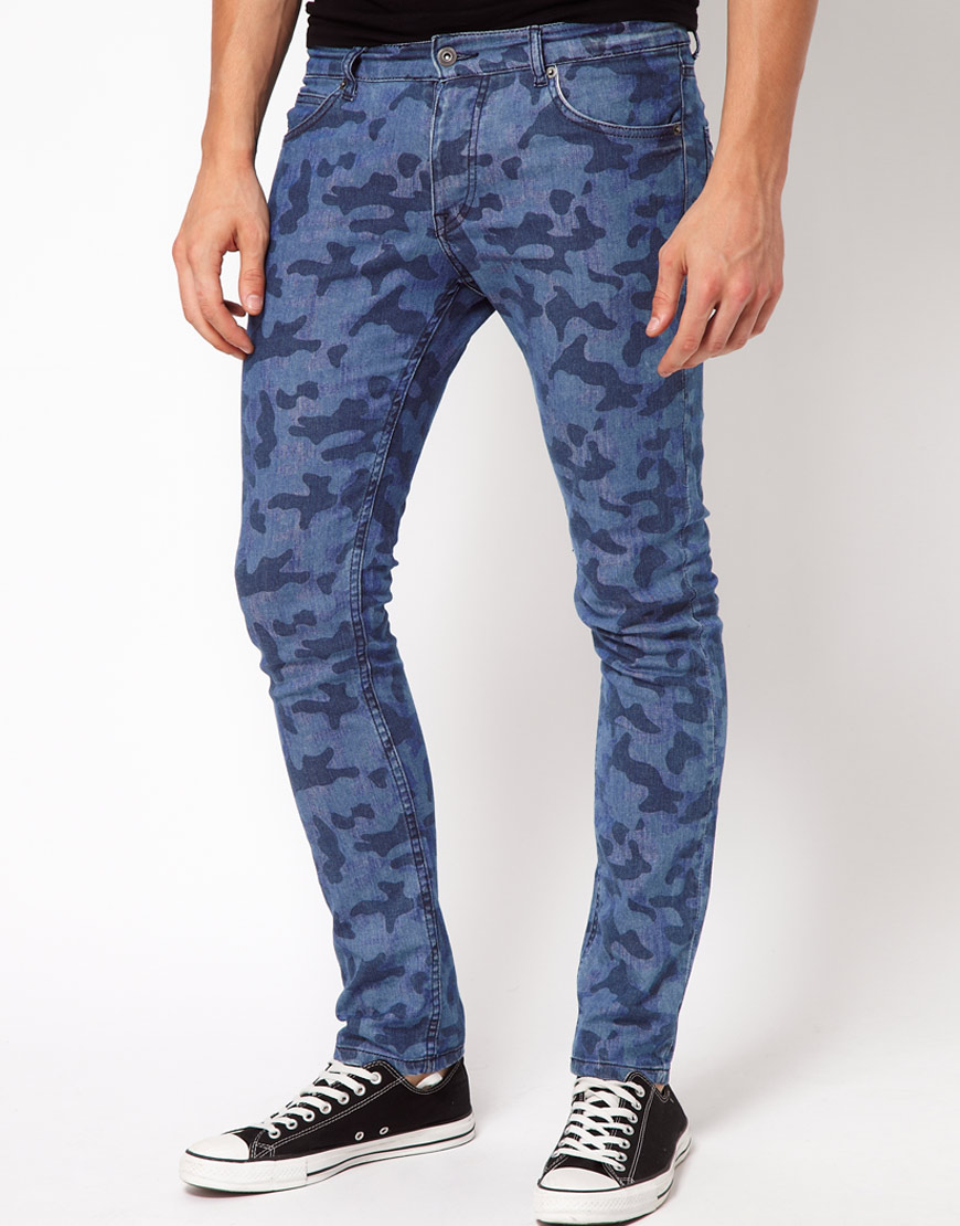 Asos Asos Super Skinny Jeans in Camo Print in Blue for Men | Lyst