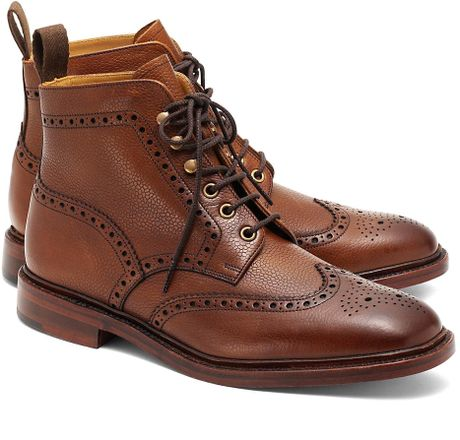brothers pebble wingtip boots in brown for