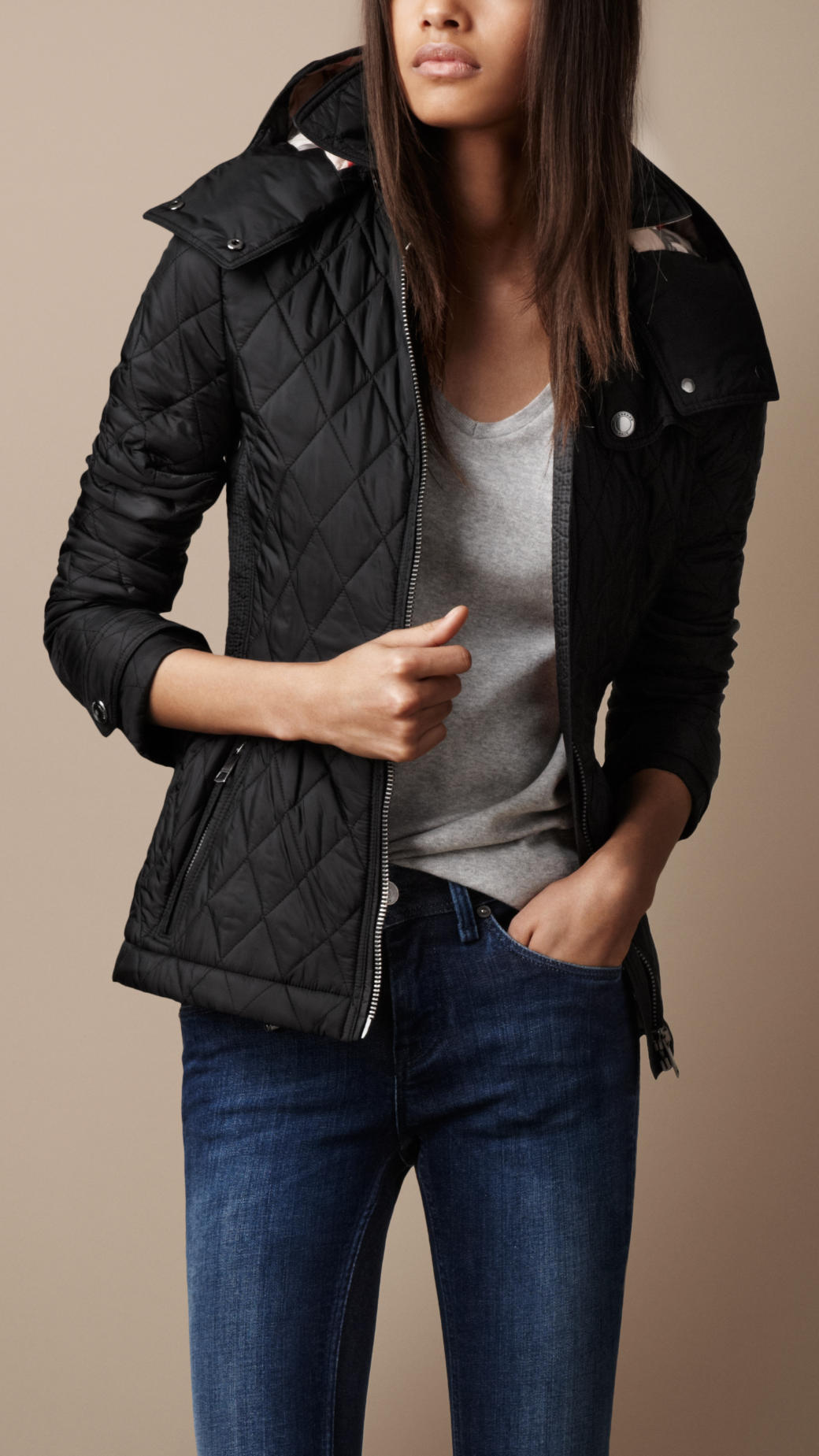 Burberry Brit Hooded Quilted Jacket In Black Lyst