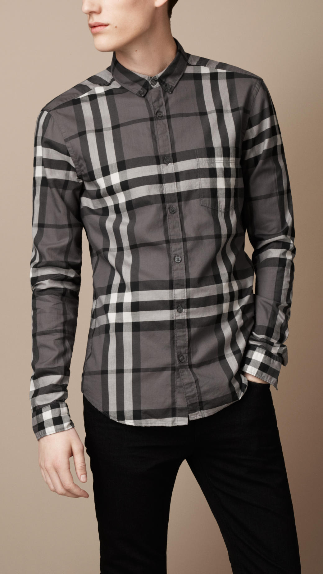 Burberry brit exploded check cotton shirt in gray for men for Burberry brit checked shirt