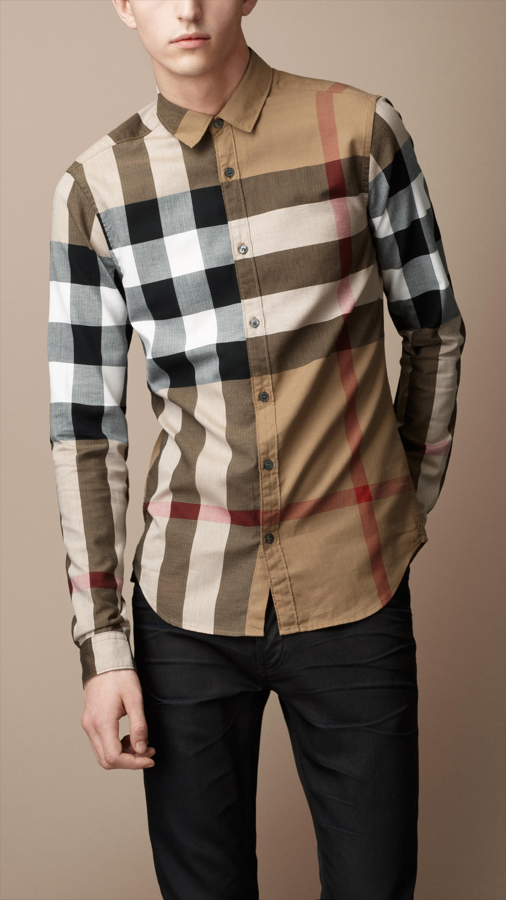Burberry brit Exploded Check Cotton Shirt in Natural for Men | Lyst