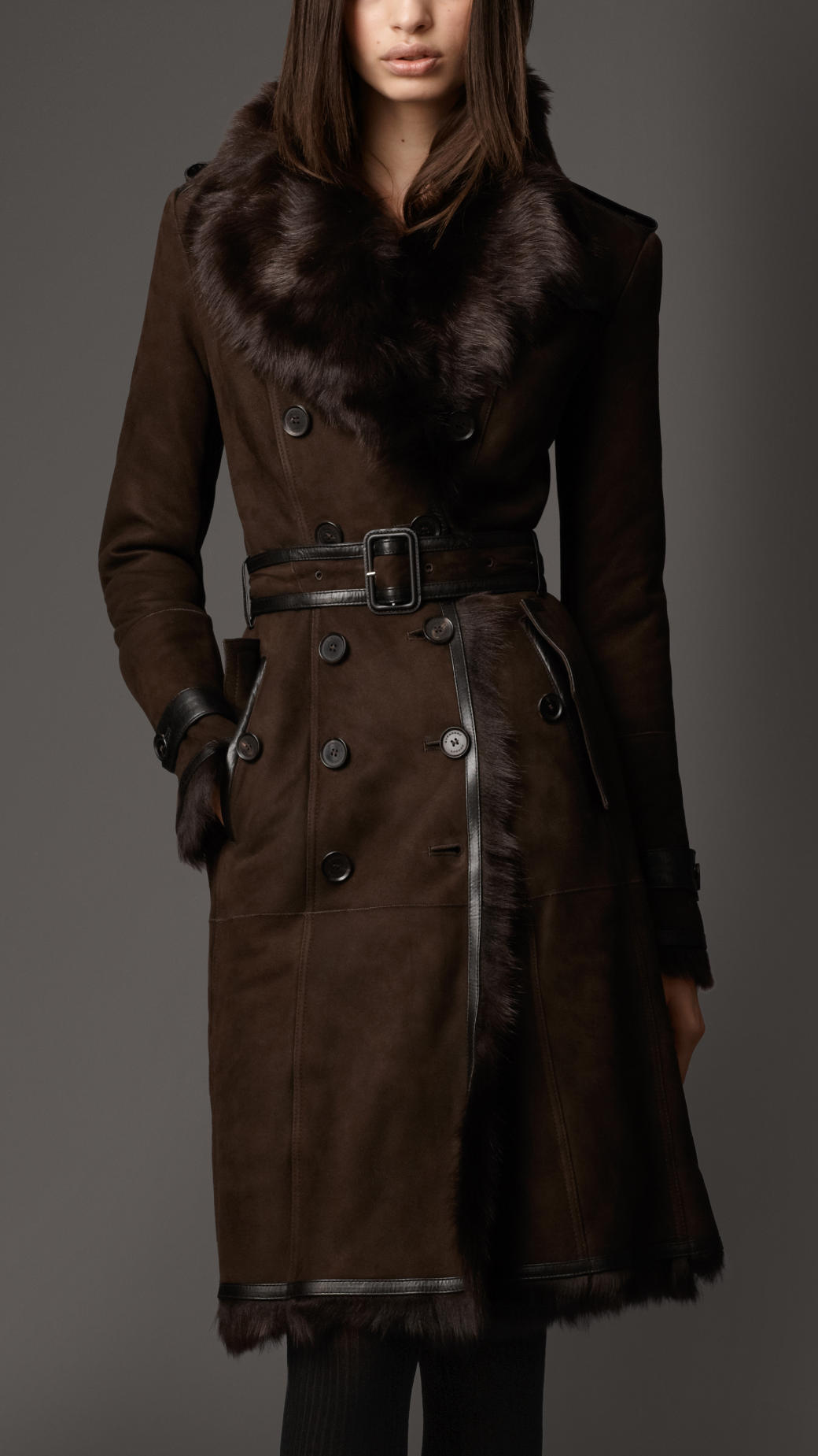 Lyst Burberry Long Shearling Trench Coat In Brown