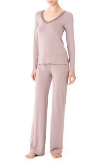 Calvin Klein  Long Pajama Pants With Satin Trim - Lyst