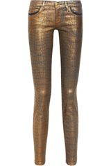 Current/Elliott The Ankle Skinny Metallic coated Lowrise Skinny Jeans
