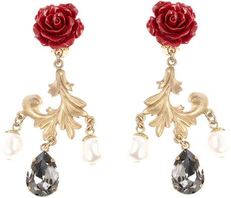 Dolce & Gabbana Rose Drop Earrings in Red (rose) - Lyst
