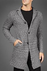 John Varvatos Jacquard Cardigan in Gray for Men (griffin) - Lyst