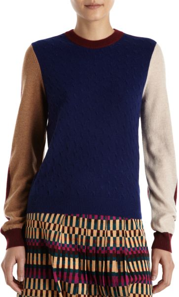 Kenzo Cashmere Colorblock Sweater in Blue (navy)