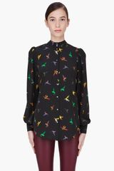 McQ by Alexander McQueen Black Silk Bird Print Blouse - Lyst