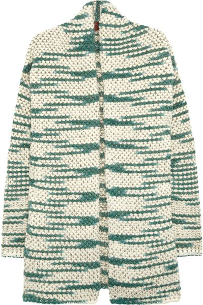 Missoni Metallic Flecked Woolblend Cardigan in Green (cream)