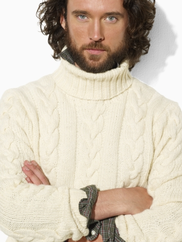 Lyst Polo Ralph Lauren Wool Cabled Turtleneck Sweater In