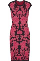 Alexander Mcqueen Brocade Dress in Red (black) - Lyst