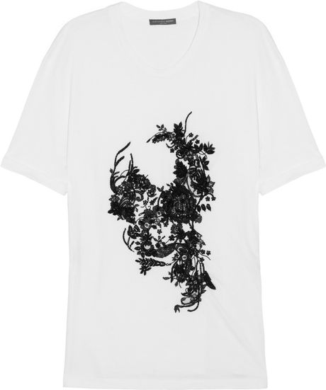 Alexander Mcqueen Embellished Cotton Tshirt in White - Lyst